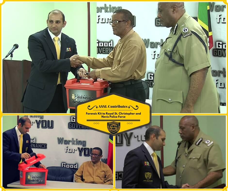 Dr. Maurice Aboud, Chief Forensic and Criminalistic Officer at ASSL and Lab Director at Caribbean Forensic Services Limited, handed over a crime scene forensic kit to Mr. Osmond Petty, Permanent Secretary in the Ministry of National Security, while Acting Commissioner of Police, Mr. Stafford Liburd, and Public Relations Officer of the RSCNPF witnessed it.